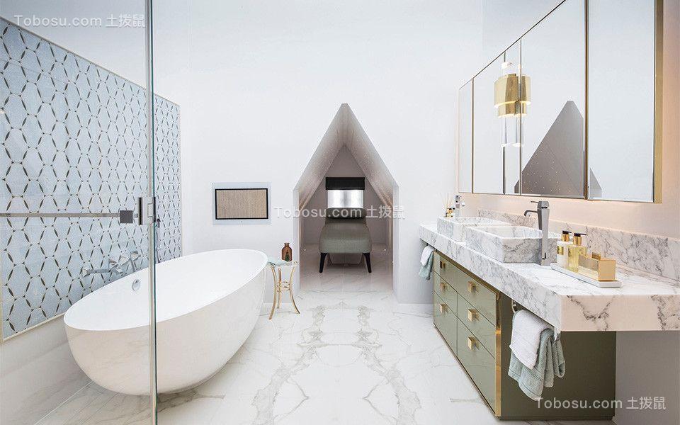 卫生间白色地砖美式风格装修设计图片