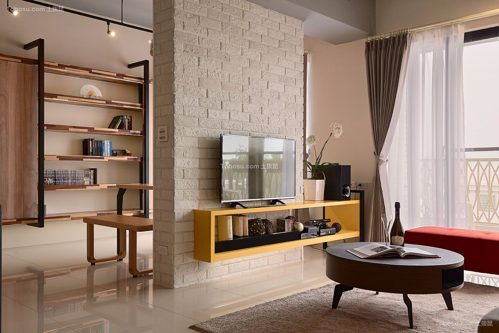客厅白色电视背景墙现代简约风格装饰效果图