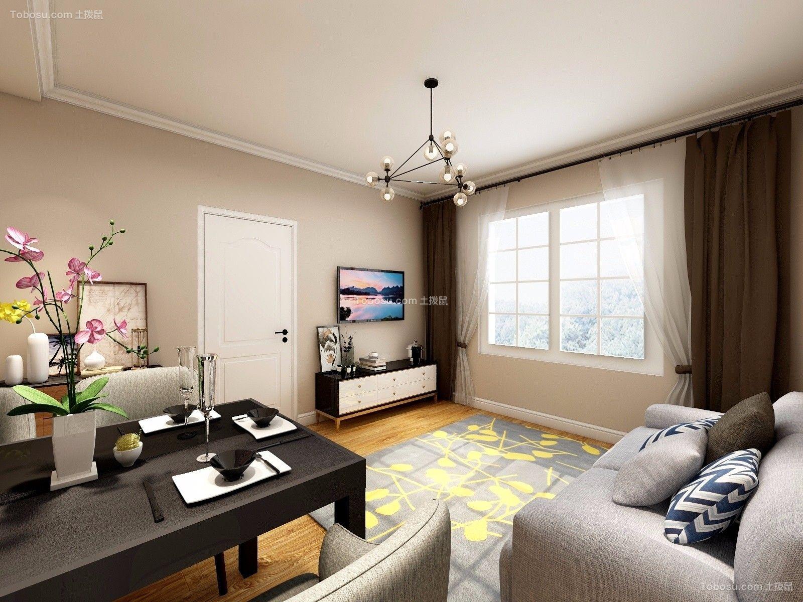88平简约风格三居室装修效果图