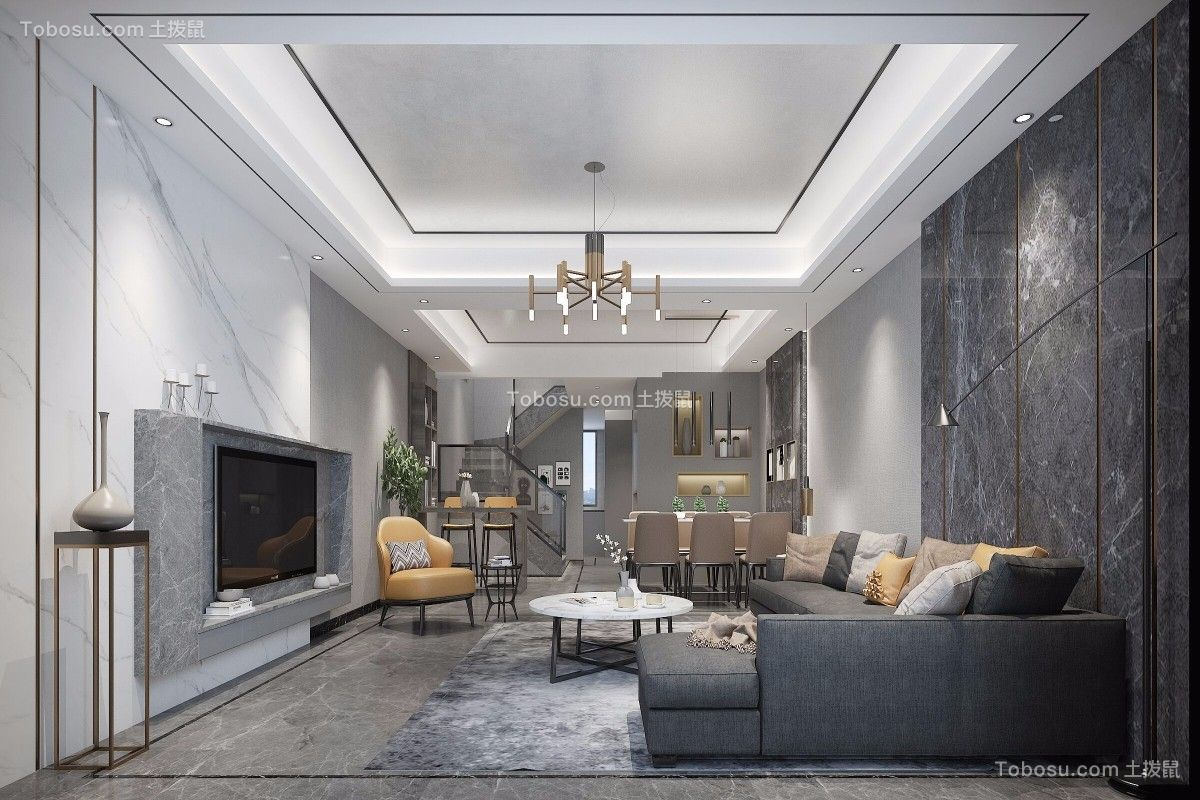 118平后现代风格三居室装修效果图