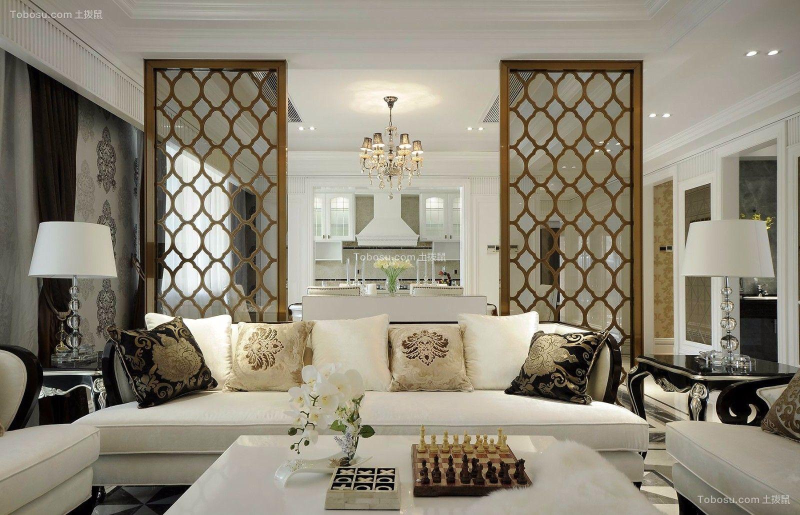 客厅白色灯具新古典风格装潢设计图片