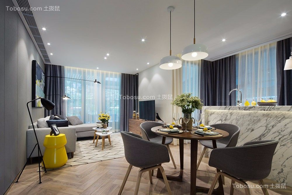 118平现代简约风格三居室装修效果图