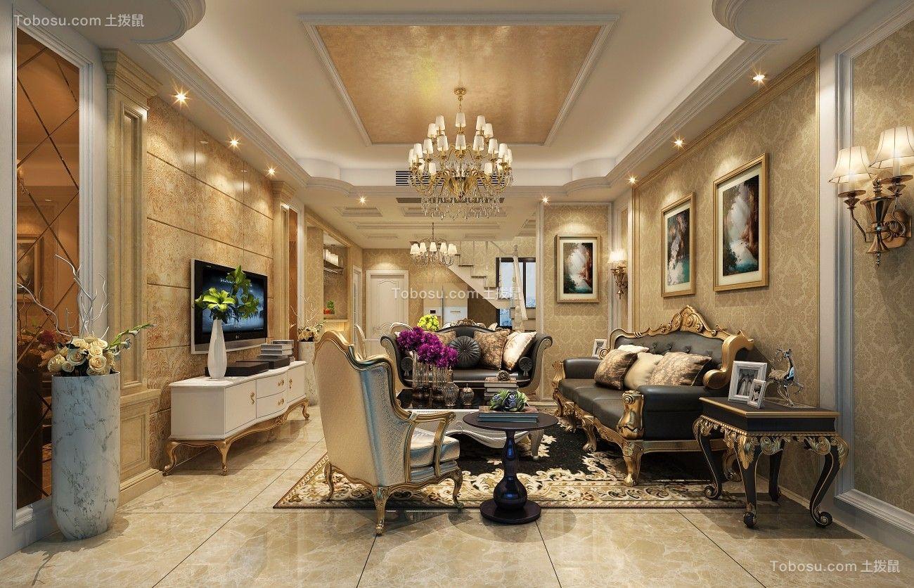 176平欧式风格三居室装修效果图