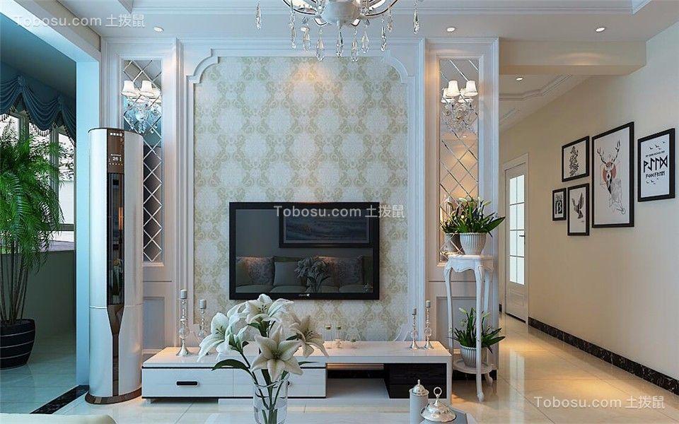 客厅米色电视背景墙现代简约风格装潢效果图