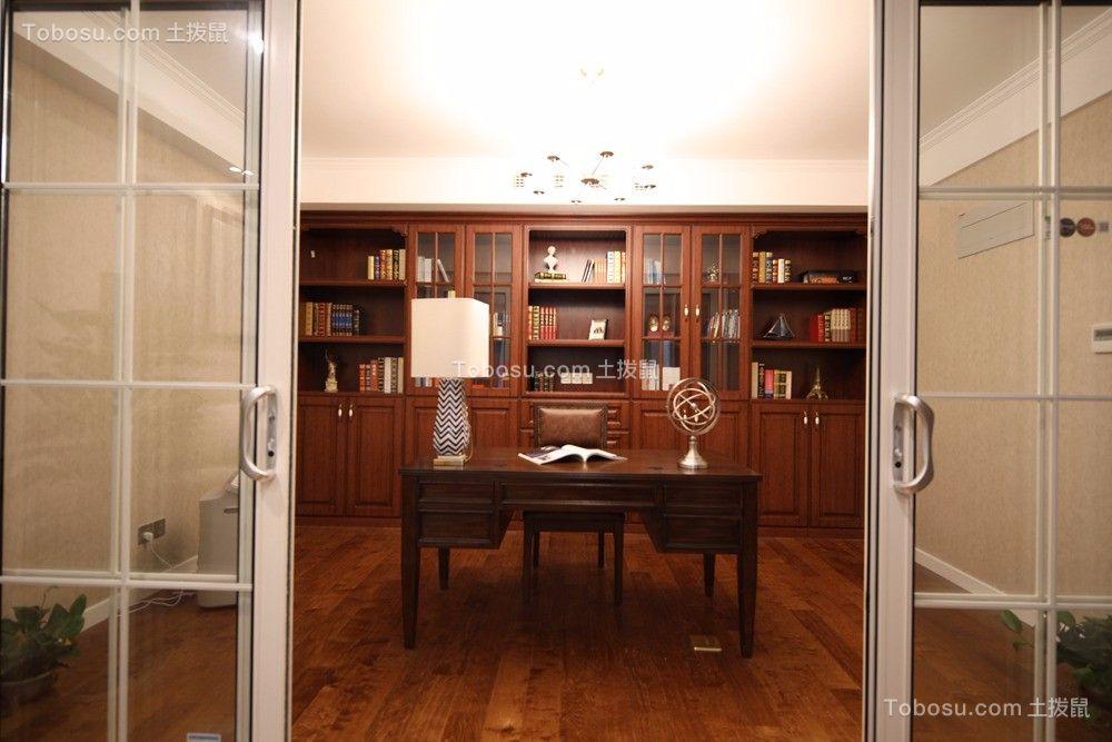书房咖啡色书桌美式风格装饰设计图片
