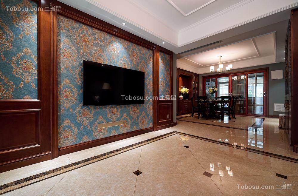 客厅彩色电视背景墙美式风格装修设计图片