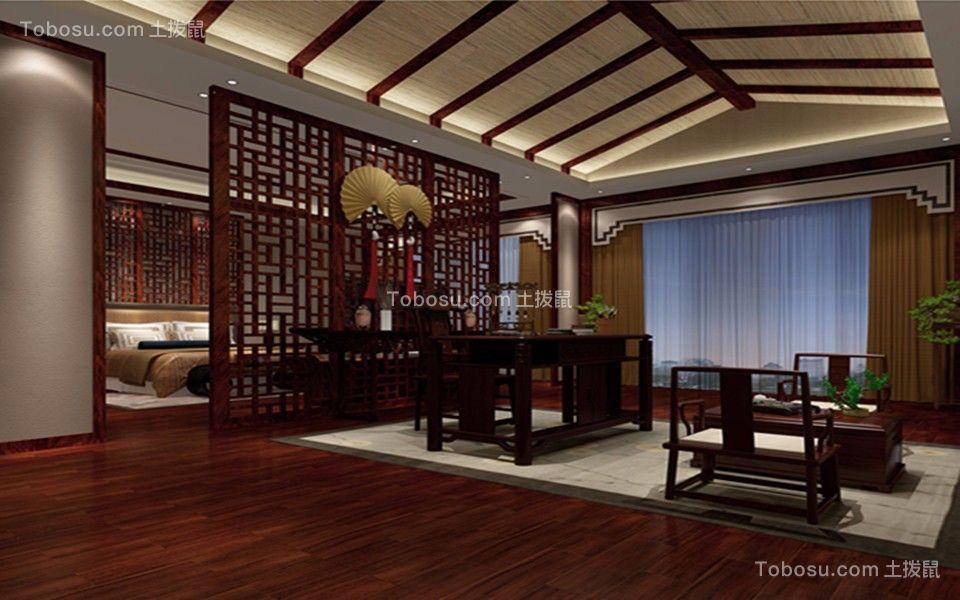 书房咖啡色吊顶中式风格装修图片