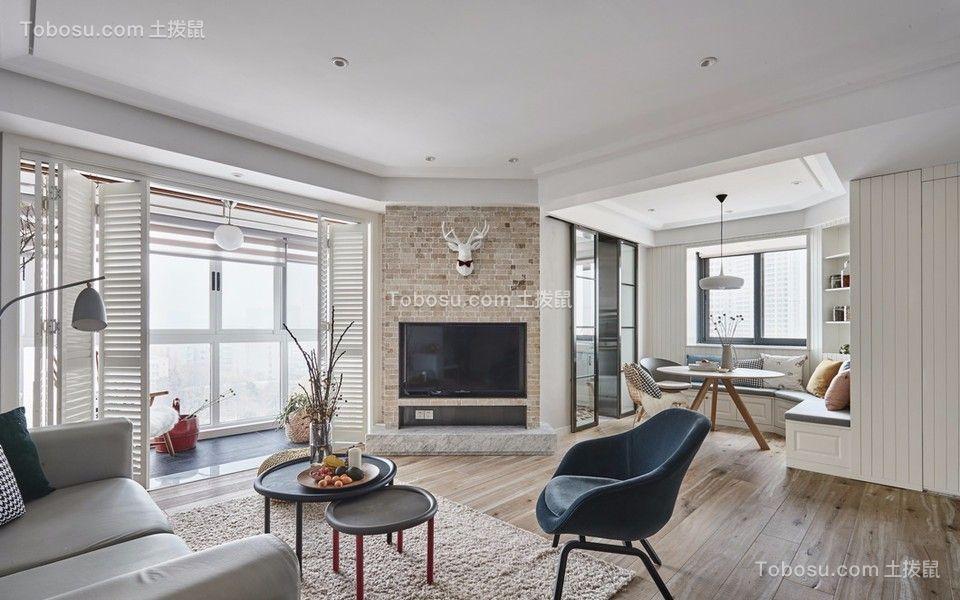 客厅咖啡色电视背景墙混搭风格装潢效果图