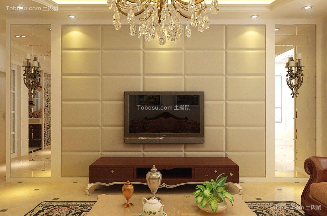 客厅米色电视背景墙简欧风格装修效果图