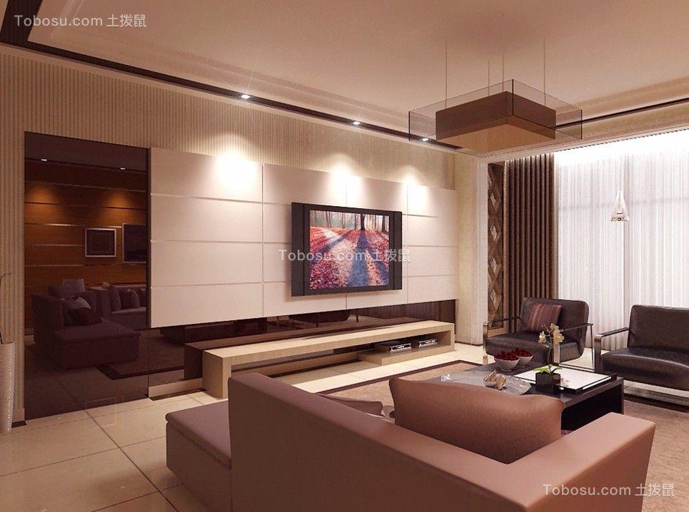 客厅白色电视背景墙混搭风格装饰图片