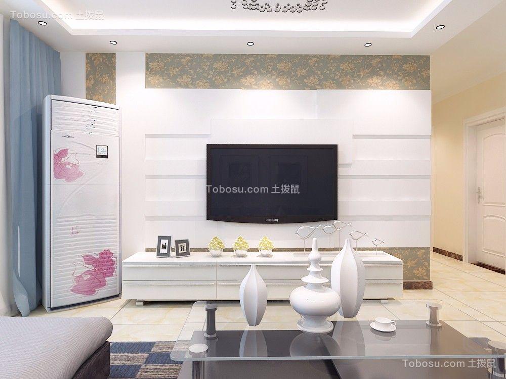 客厅白色电视背景墙简约风格装潢图片