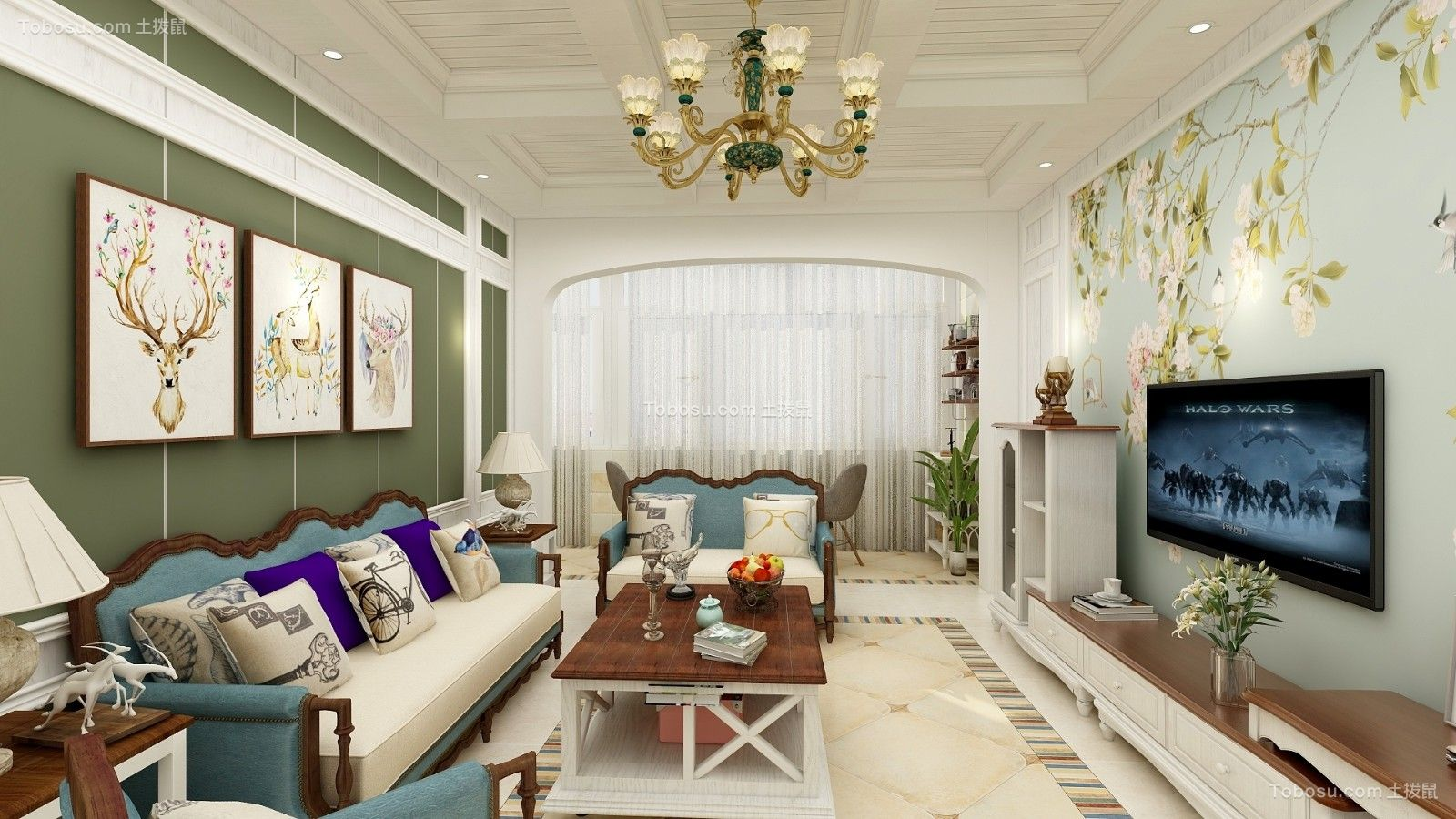客厅绿色背景墙美式风格装修图片