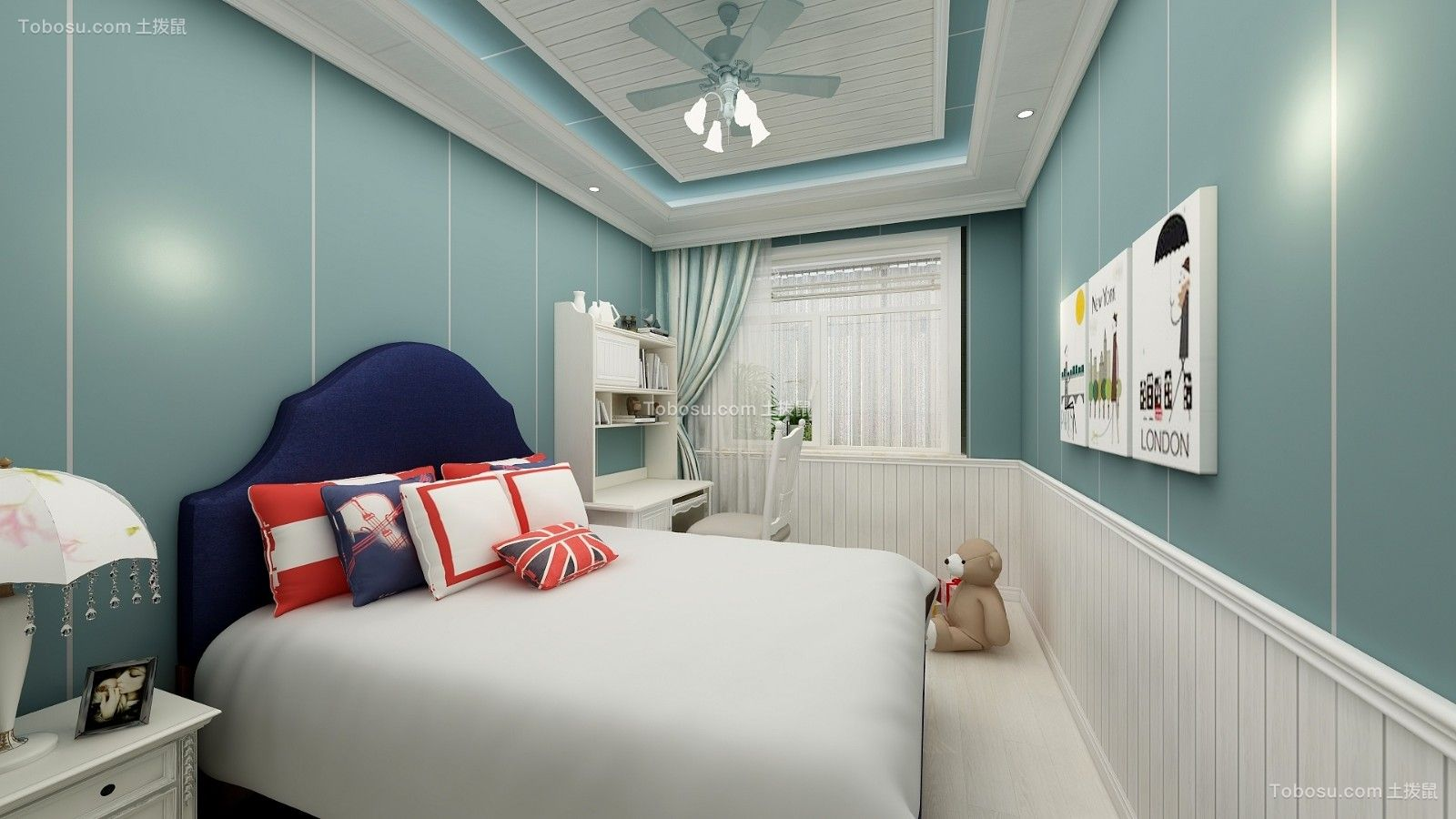 眩亮蓝色卧室案例图