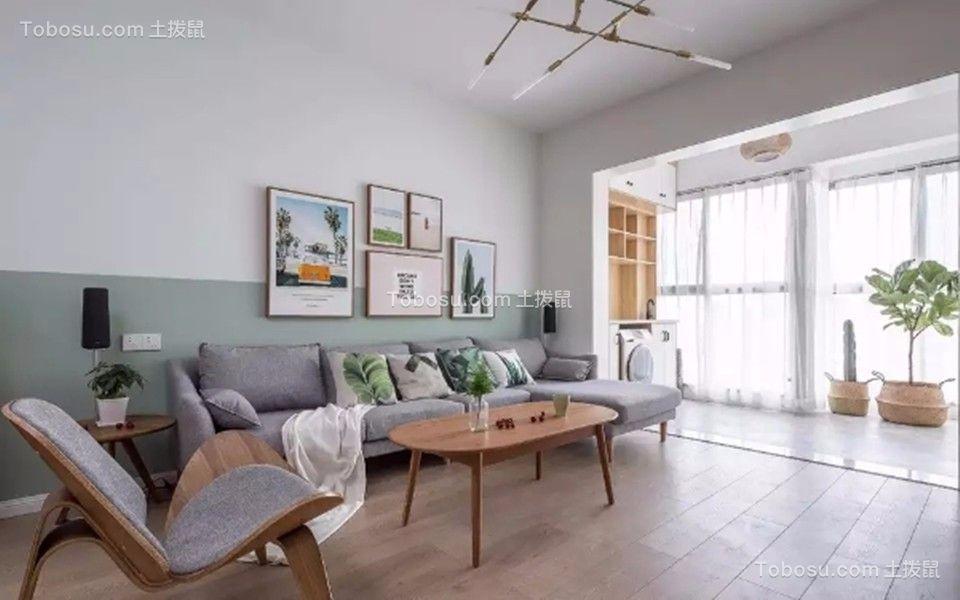 客厅白色背景墙北欧风格装潢效果图