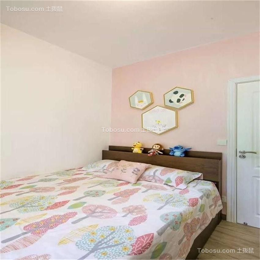 卧室粉色背景墙现代简约风格装修图片