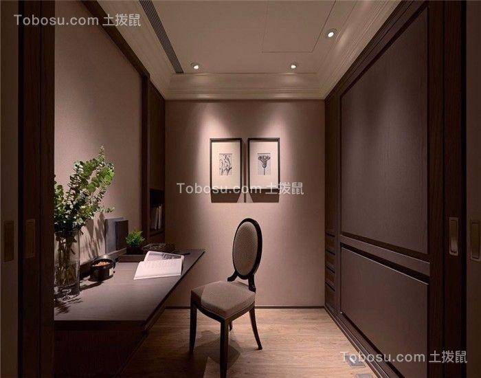 书房灰色书桌新古典风格装修图片
