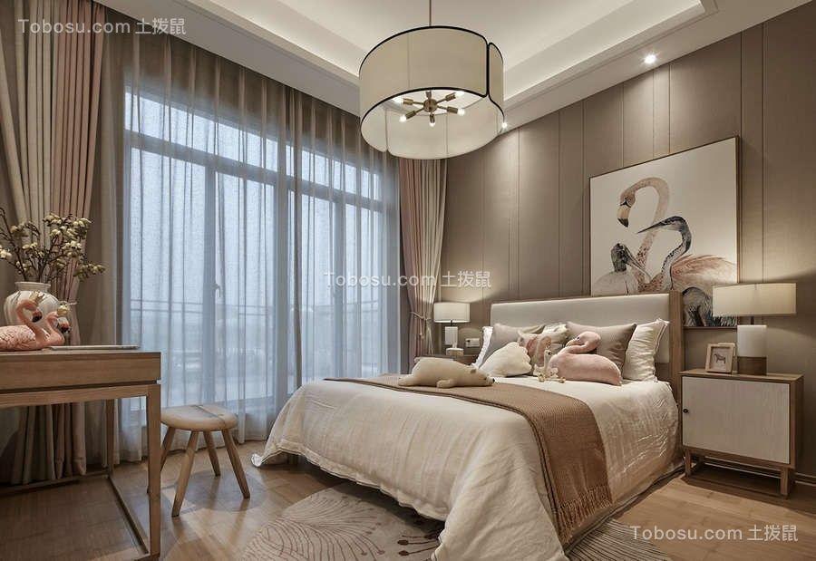 卧室米色背景墙中式风格装饰效果图