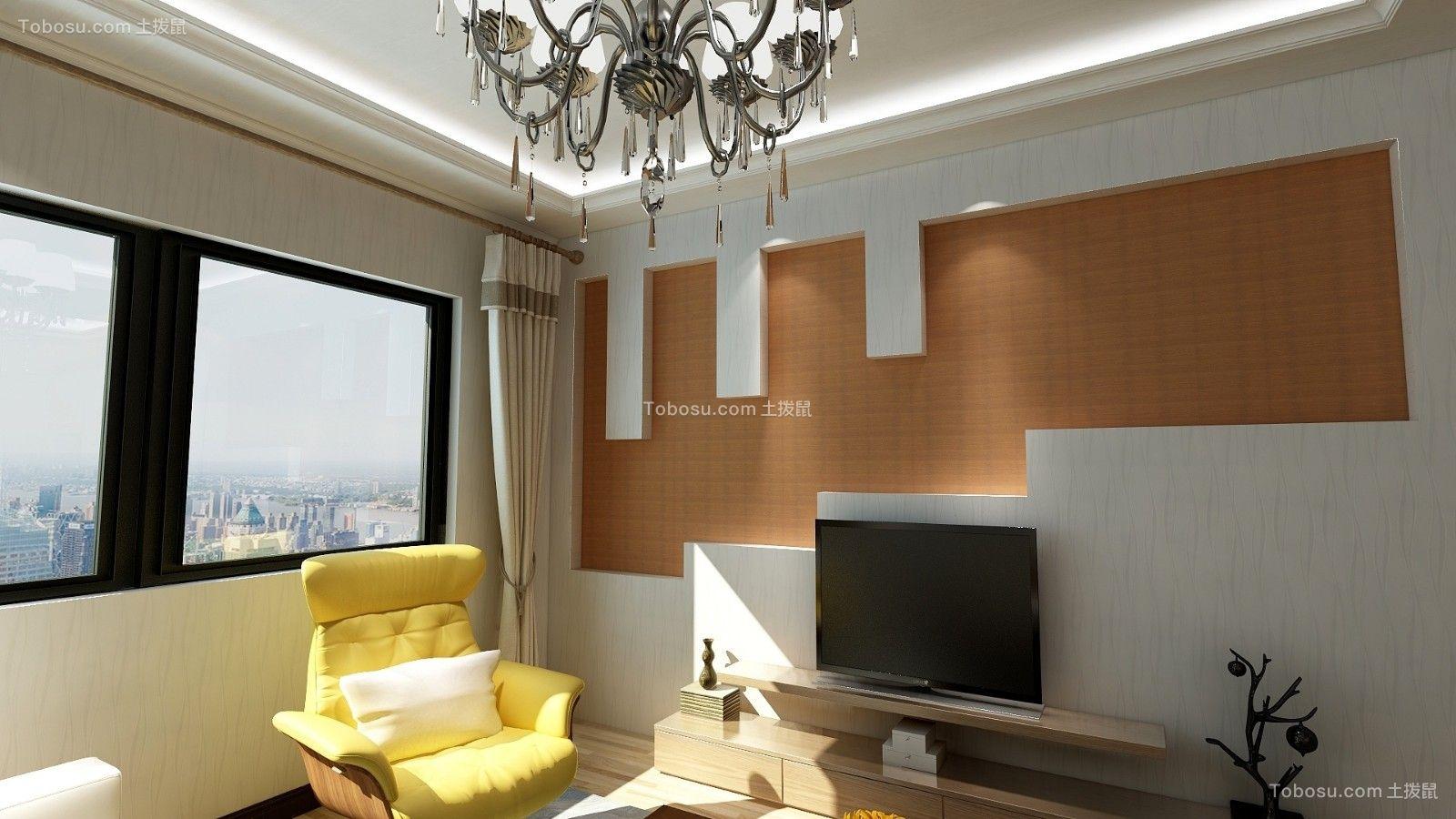 客厅橙色背景墙现代风格装饰图片