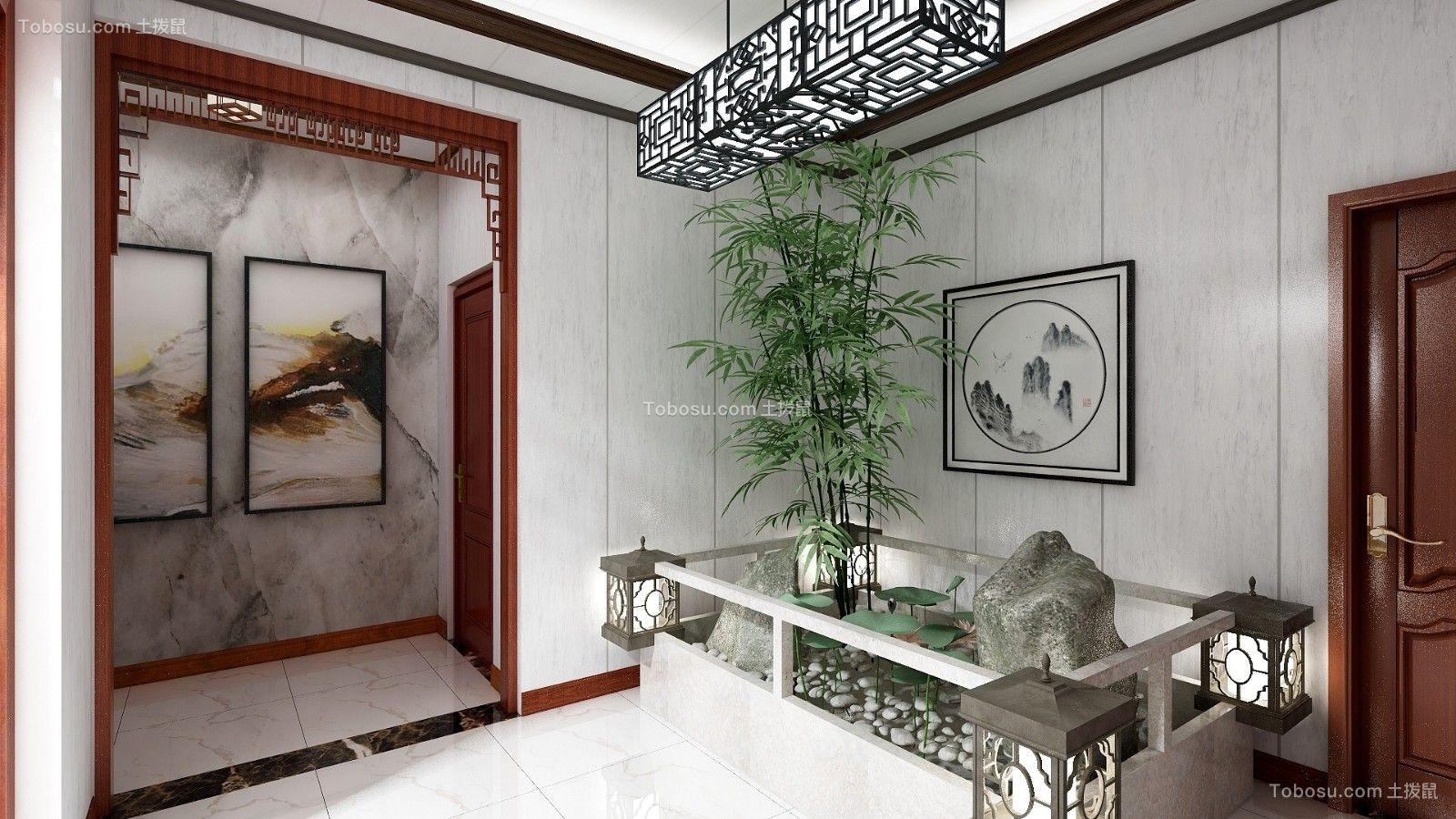 玄关灰色背景墙中式风格效果图