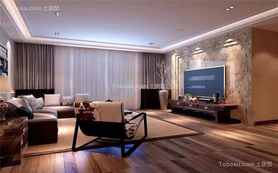 客厅灰色窗帘现代风格装潢效果图
