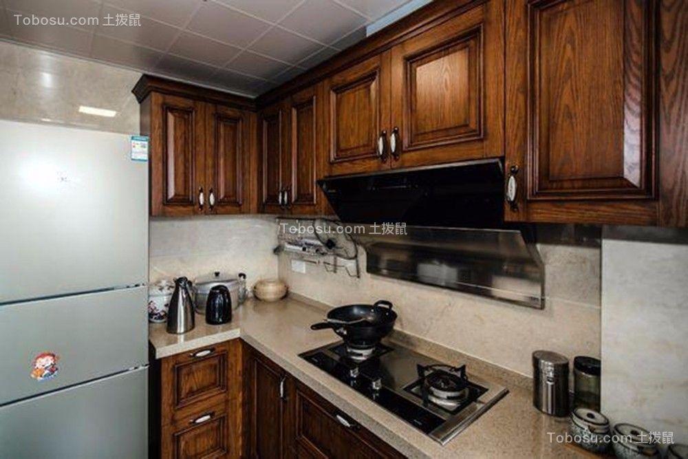 厨房咖啡色橱柜中式风格装潢设计图片