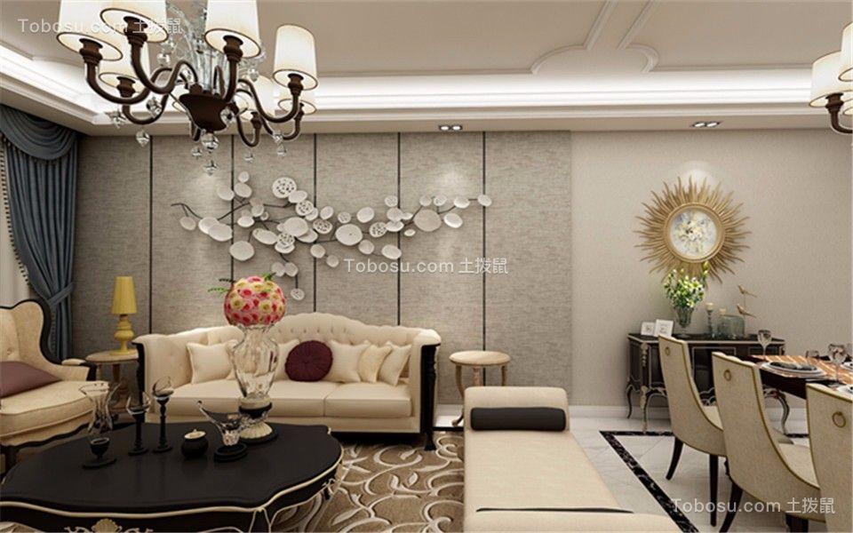 客厅灰色背景墙法式风格装修效果图