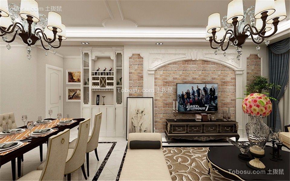 客厅咖啡色电视柜法式风格装修图片