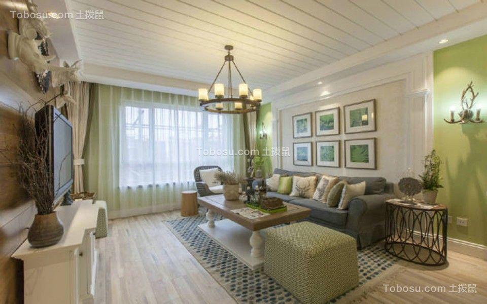 客厅背景墙美式装饰实景图