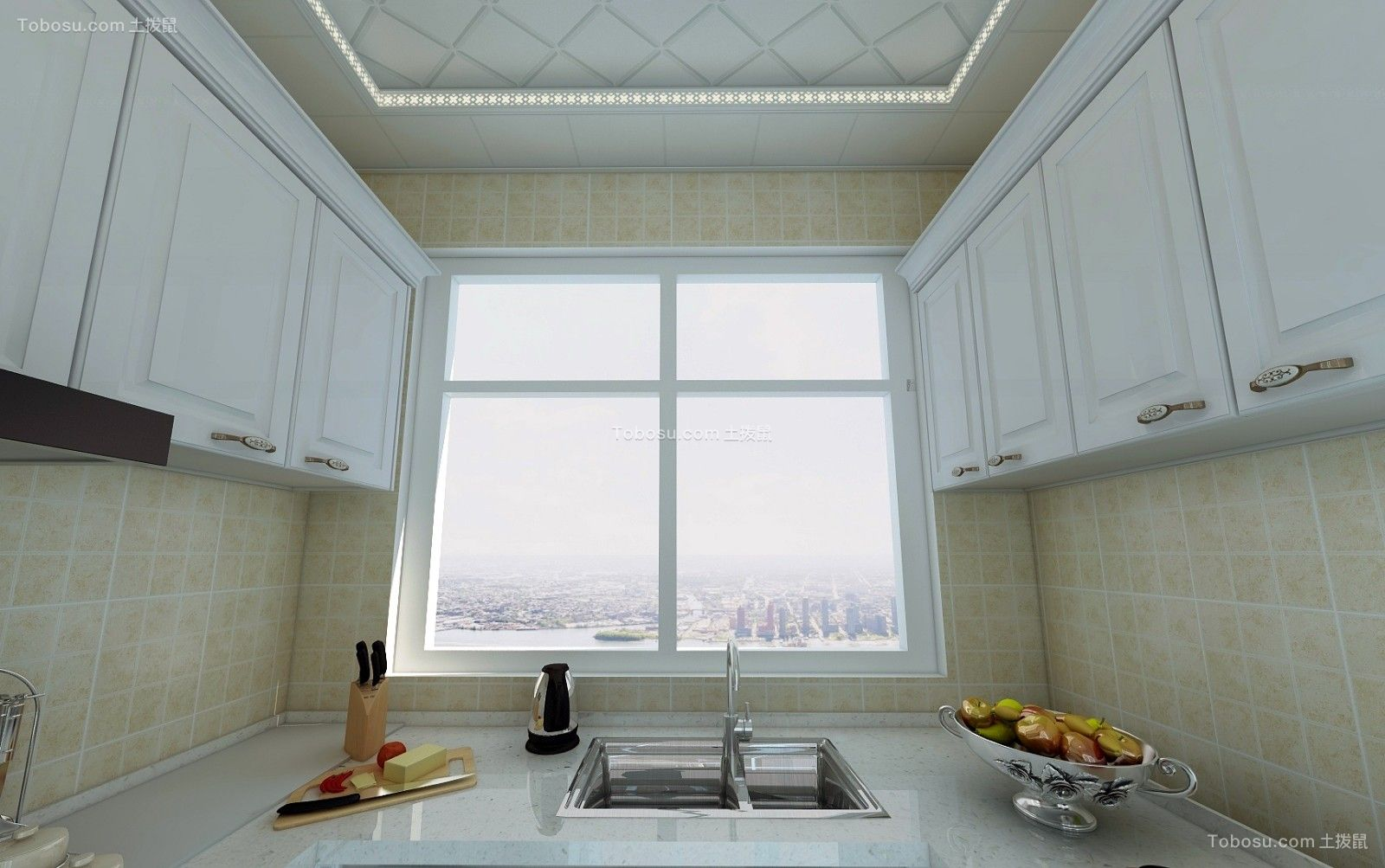 厨房黄色背景墙简欧风格装潢效果图
