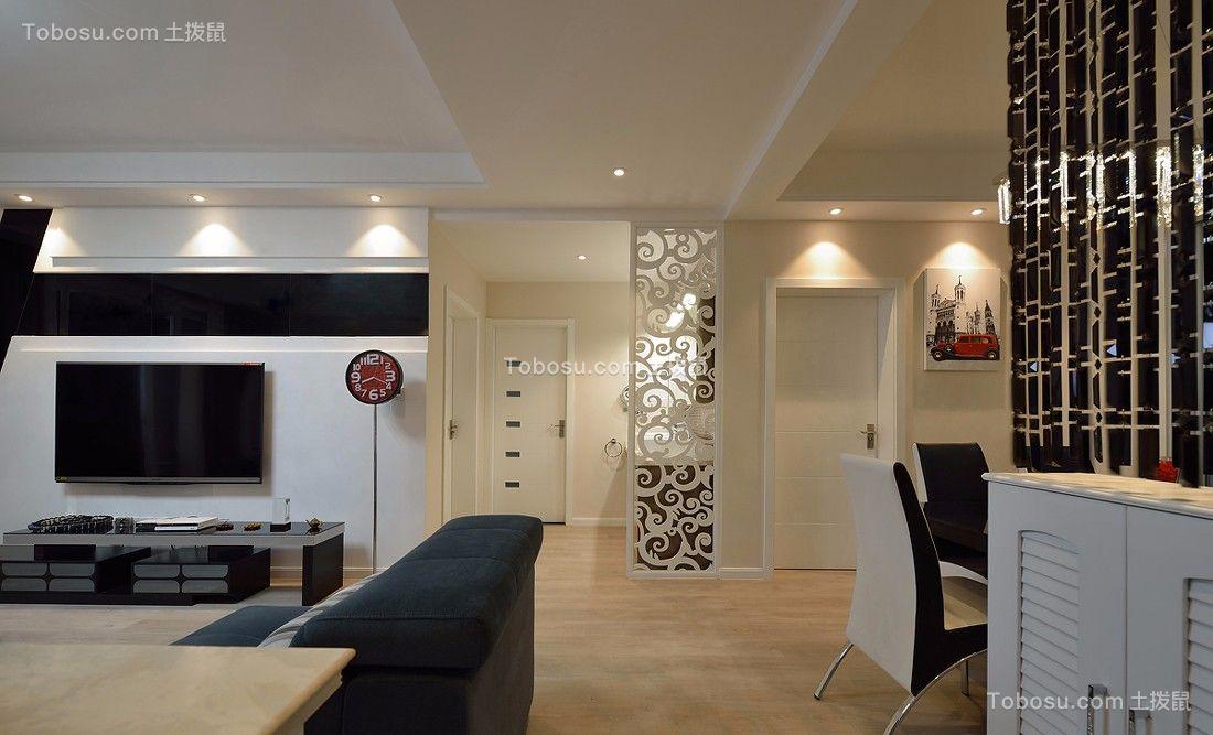 客厅黑色电视柜现代风格装饰设计图片