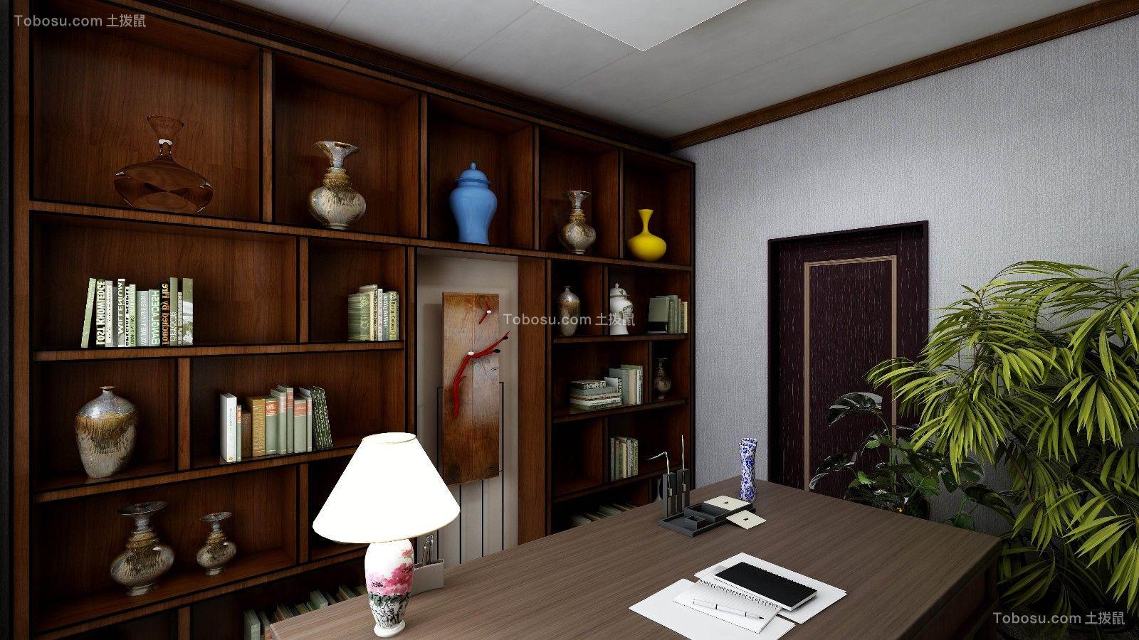 书房灰色书桌中式风格装修图片