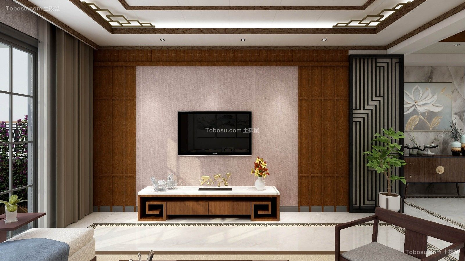216平中式风格三居室装修效果图