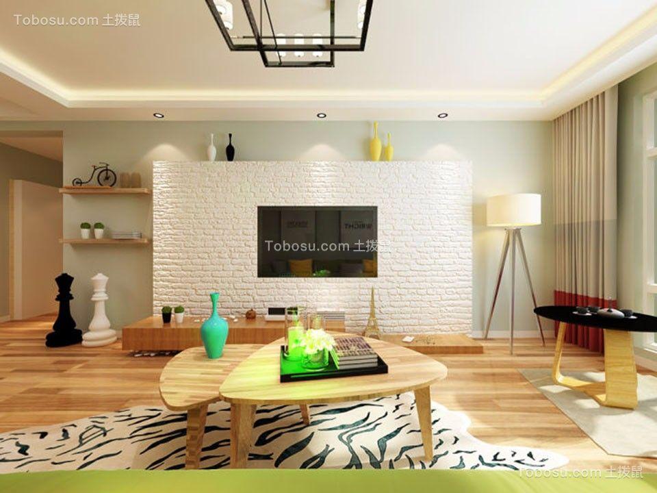 客厅白色电视背景墙北欧风格效果图