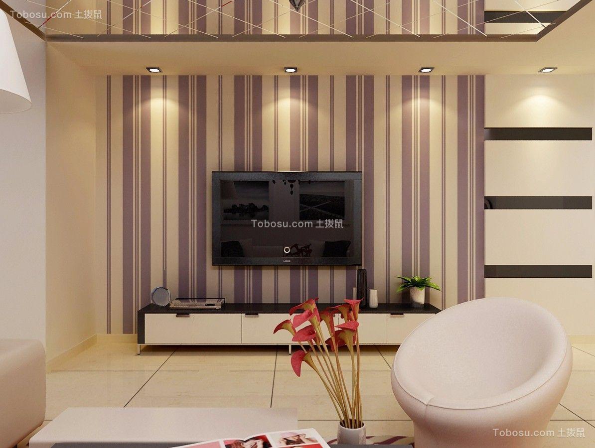 客厅彩色电视背景墙简约风格装潢图片
