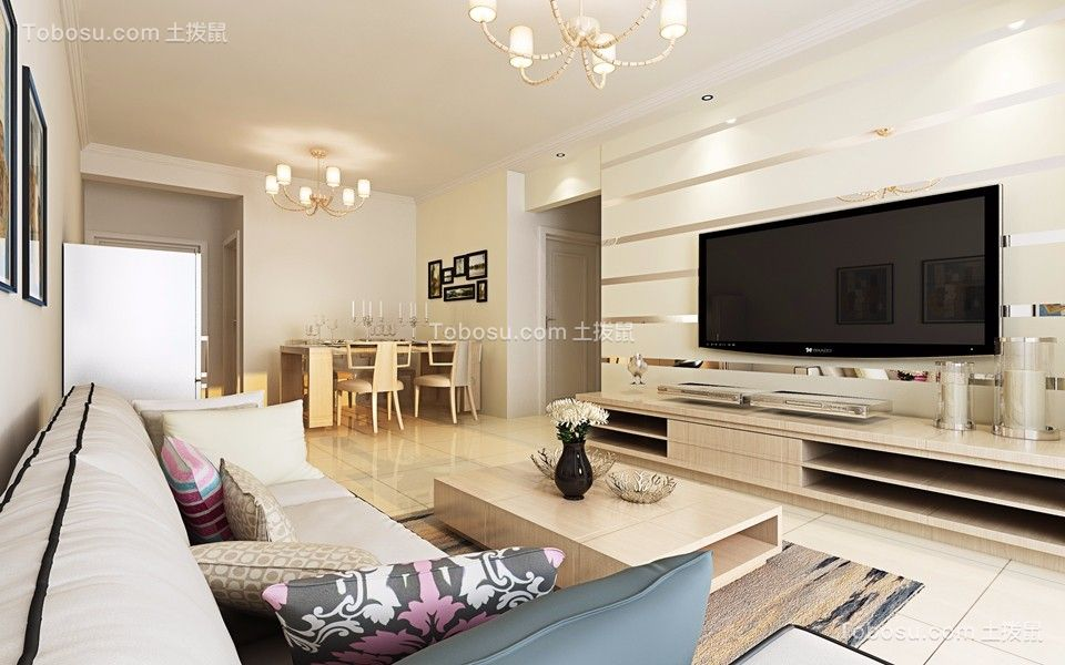 116平简单风格三居室装修效果图
