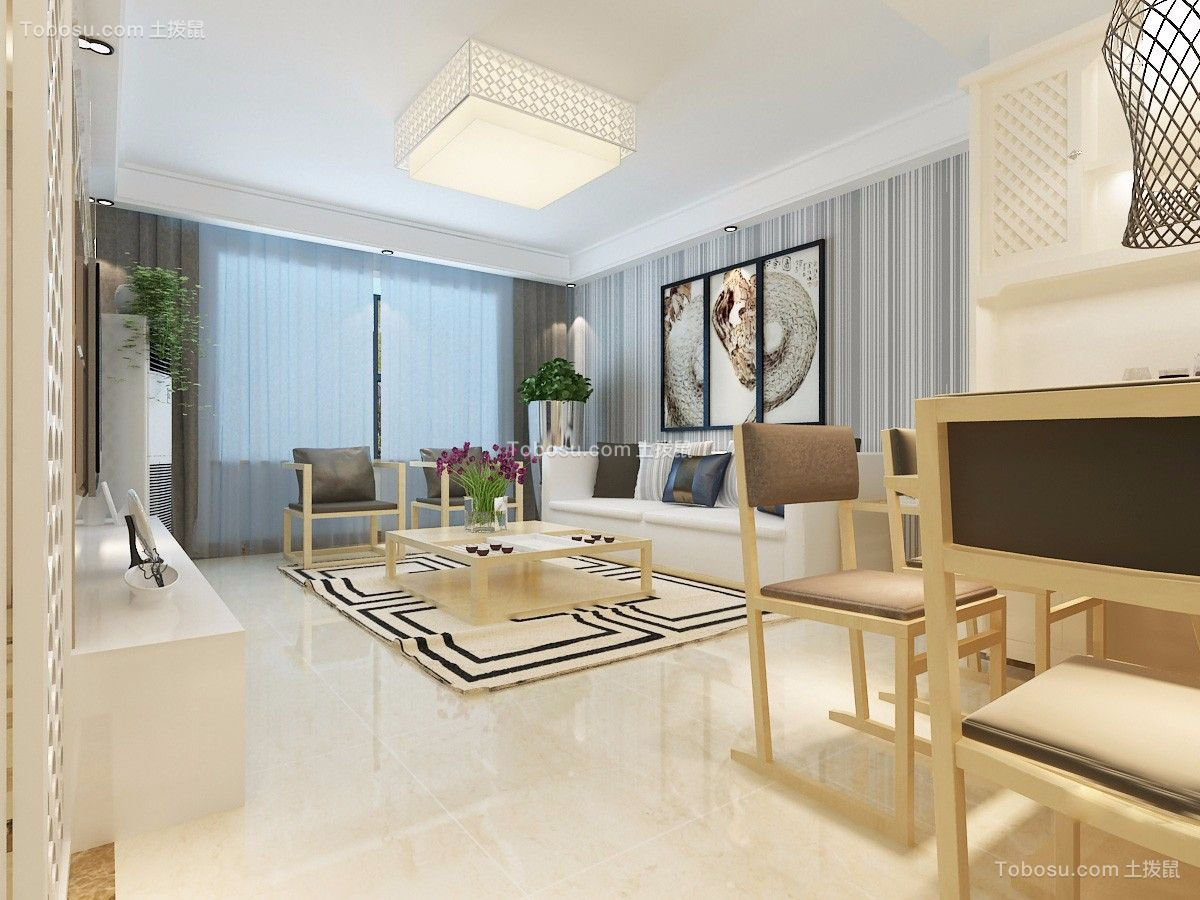 119平现代简约风格三居室装修效果图