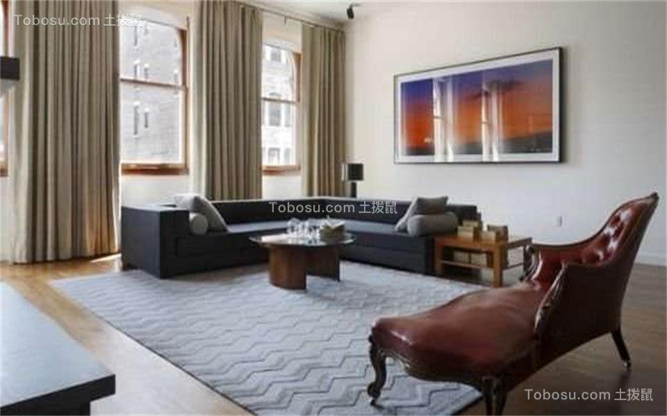 客厅米色窗帘现代简约风格装潢图片