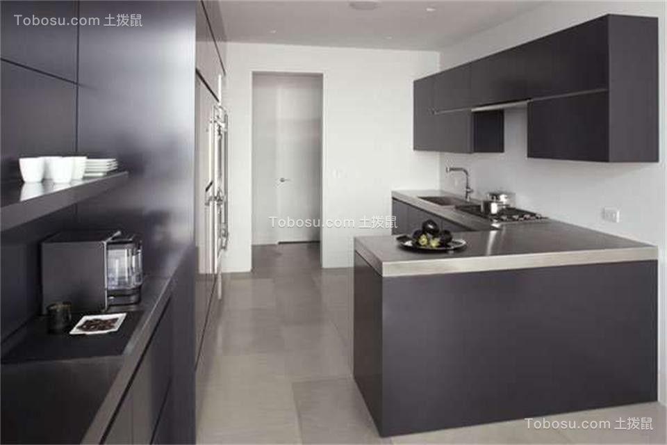厨房灰色橱柜现代简约风格装修设计图片