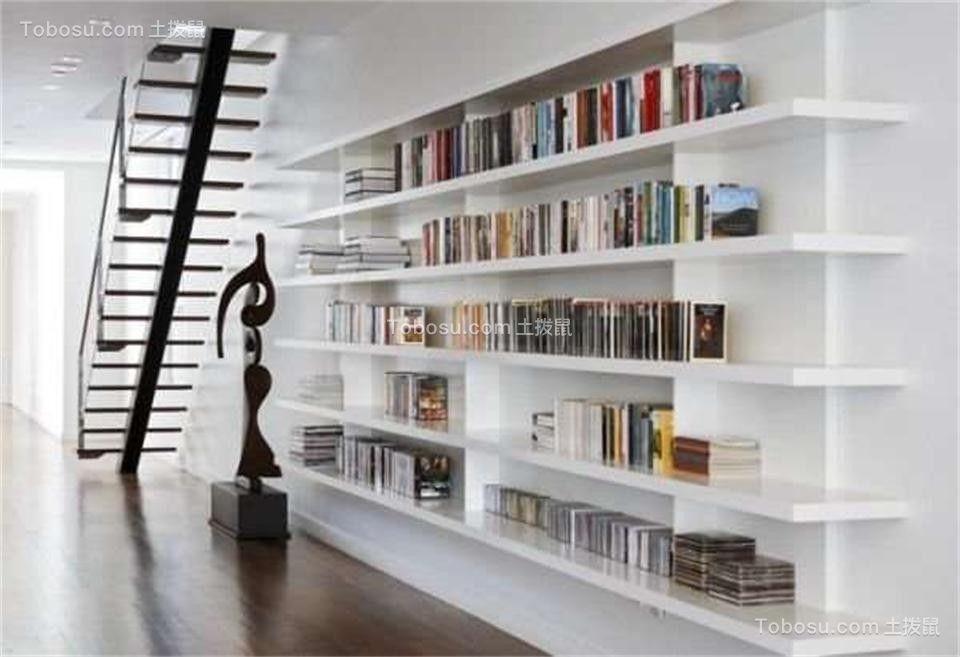 客厅白色书架现代简约风格装潢设计图片