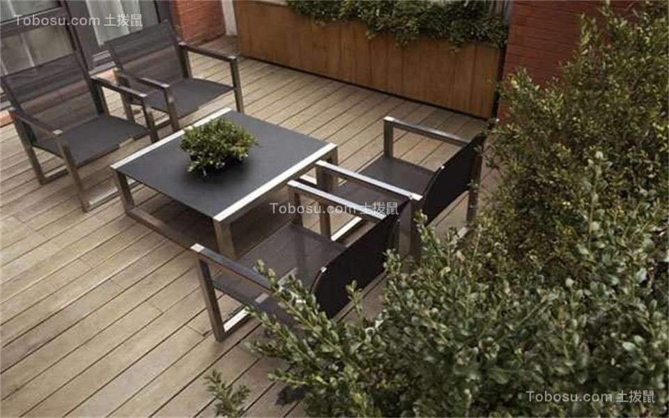 花园黑色茶几现代简约风格效果图
