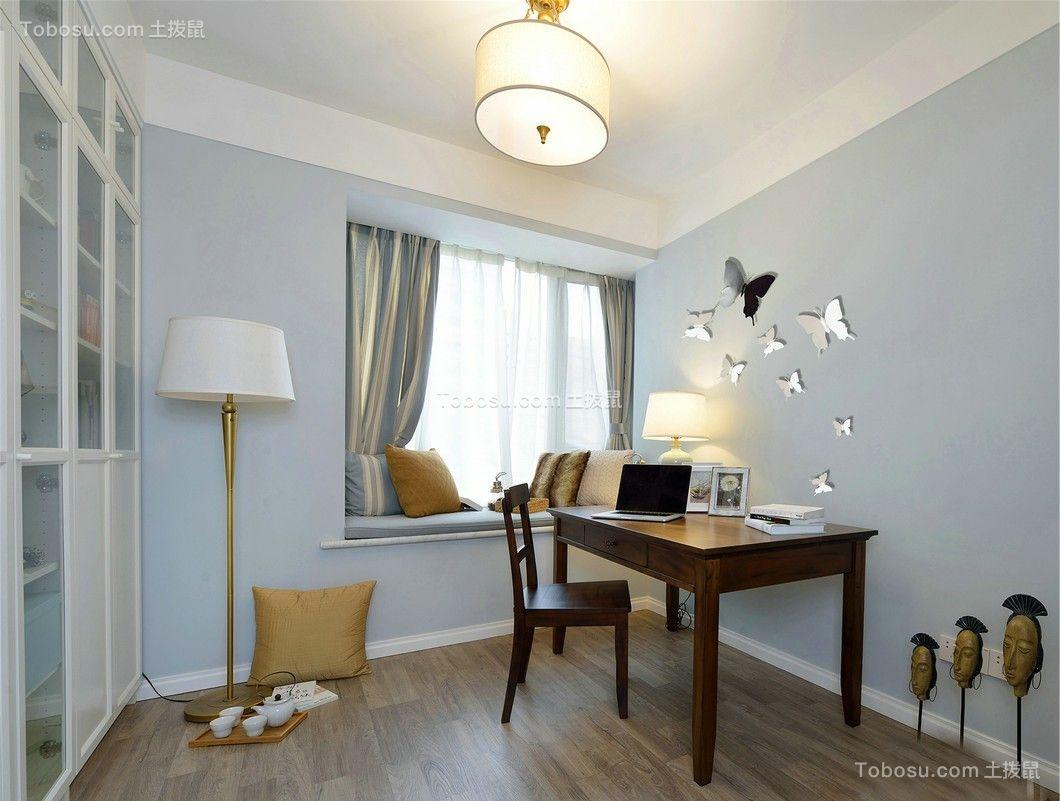 书房咖啡色书桌美式风格装潢设计图片