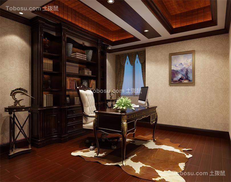 书房咖啡色书桌中式风格装饰效果图
