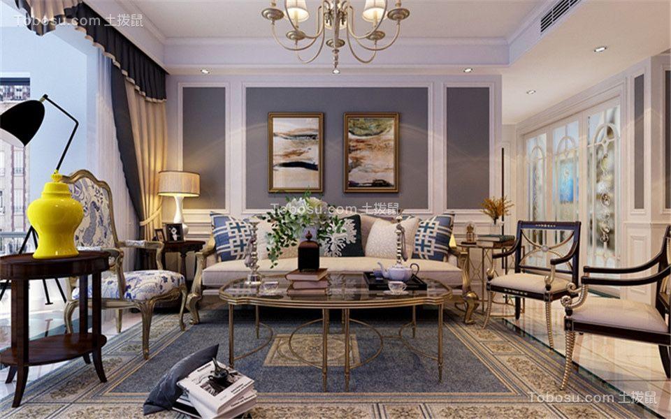 110平欧式风格两居室装修效果图