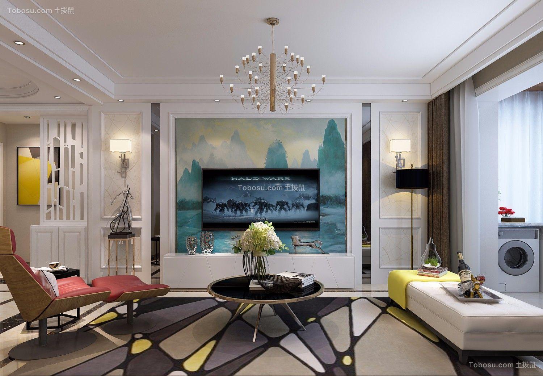客厅彩色电视背景墙简约风格装潢设计图片