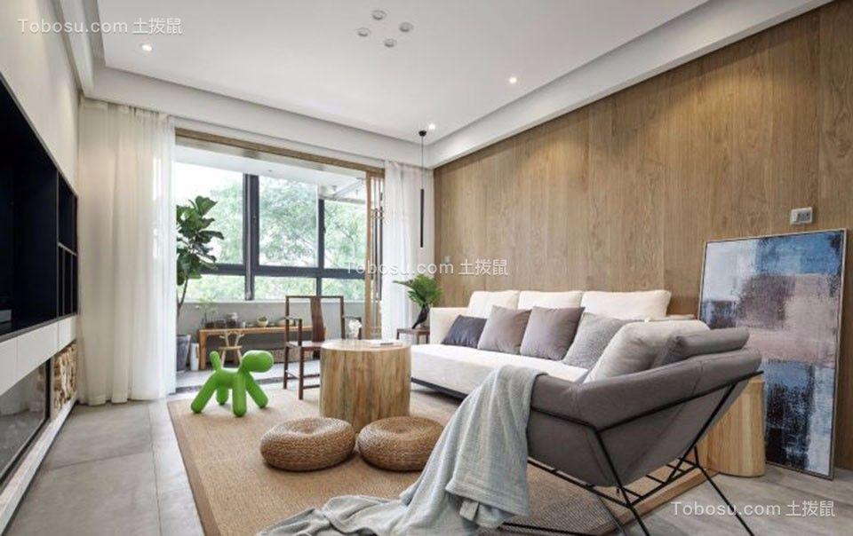 70平日式风格两室一厅装修效果图