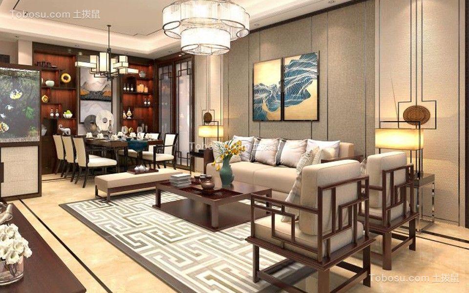 96平新中式风格四居室装修效果图