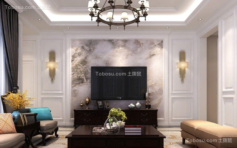 客厅咖啡色电视柜简欧风格装饰效果图