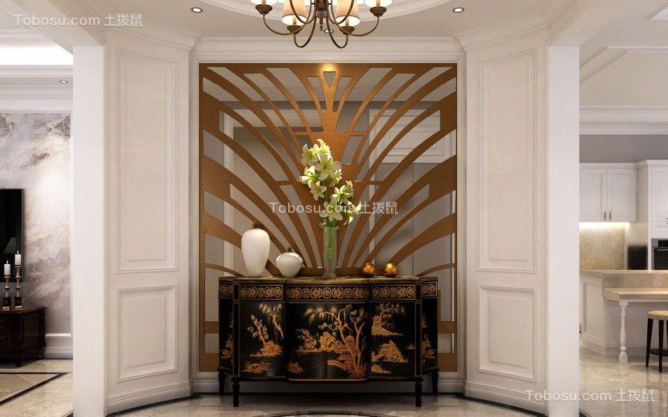 玄关黄色背景墙简欧风格装潢效果图
