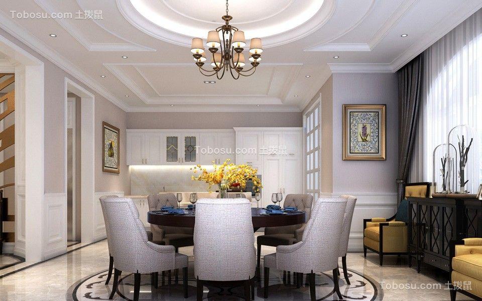 餐厅咖啡色餐桌简欧风格装修图片