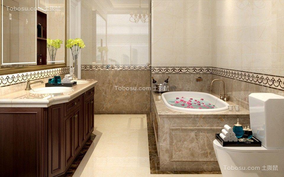 卫生间黄色洗漱台简欧风格装潢图片